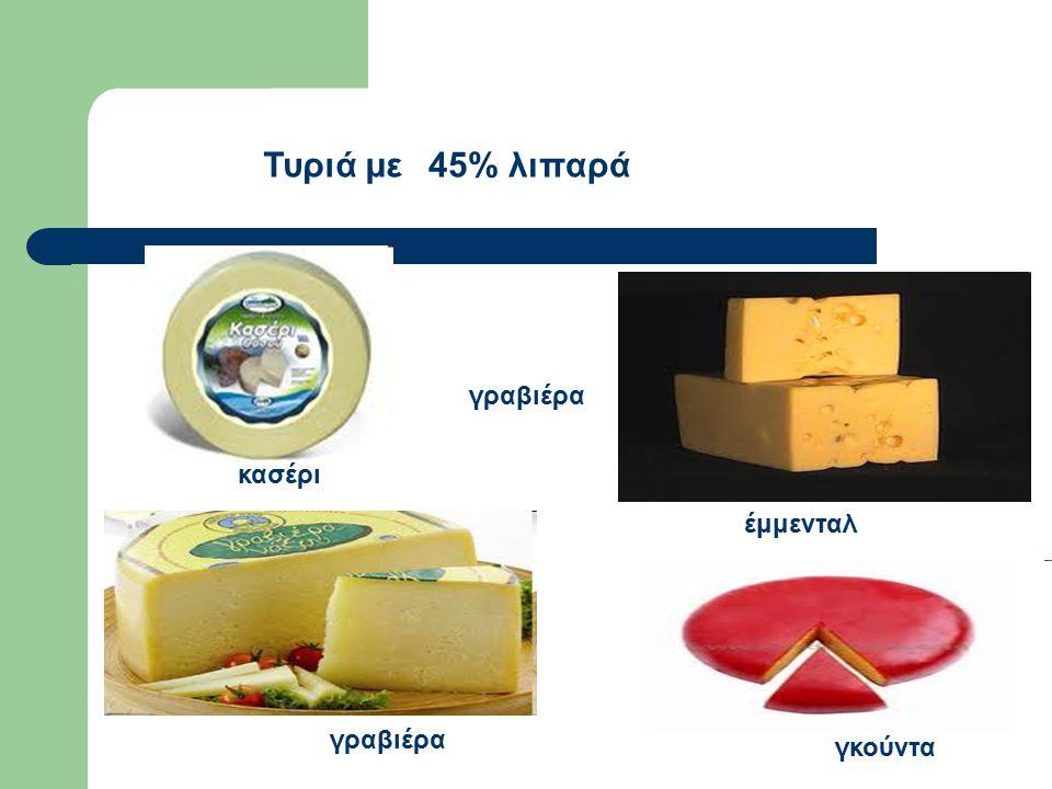 κασέρι γραβιέρα γκούντα έμμενταλ Τυριά με 45% λιπαρά γραβιέρα