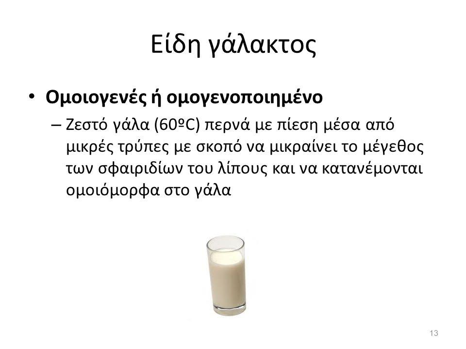 Είδη γάλακτος Ομοιογενές ή ομογενοποιημένο – Ζεστό γάλα (60ºC) περνά με πίεση μέσα από μικρές τρύπες με σκοπό να μικραίνει το μέγεθος των σφαιριδίων τ