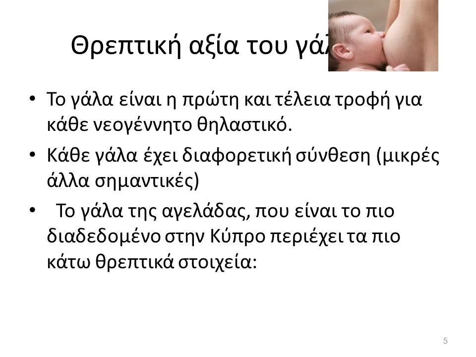 Θρεπτική αξία του γάλακτος Το γάλα είναι η πρώτη και τέλεια τροφή για κάθε νεογέννητο θηλαστικό. Κάθε γάλα έχει διαφορετική σύνθεση (μικρές άλλα σημαν