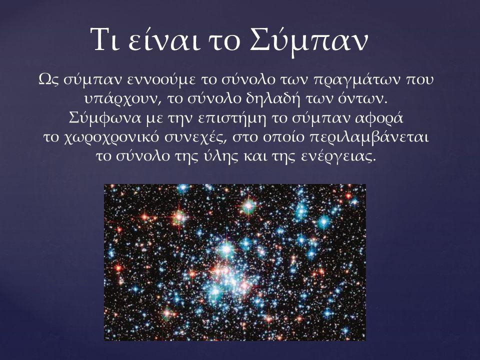 Ως σύμπαν εννοούμε το σύνολο των πραγμάτων που υπάρχουν, το σύνολο δηλαδή των όντων. Σύμφωνα με την επιστήμη το σύμπαν αφορά το χωροχρονικό συνεχές, σ