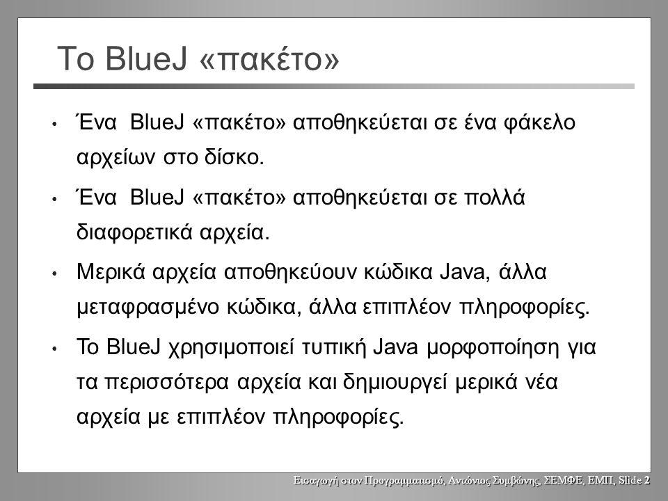 Εισαγωγή στον Προγραμματισμό, Αντώνιος Συμβώνης, ΣΕΜΦΕ, ΕΜΠ, Slide 3 Η δομή αρχείων του BlueJ UserInterface CalcEngine Calculator package: calculator c:\bluej\calculator\ bluej.pkg bluej.pkh Calculator.java Calculator.class Calculator.ctxt UserInterface.java UserInterface.class UserInterface.ctxt CalcEngine.java CalcEngine.class CalcEngine.ctxt