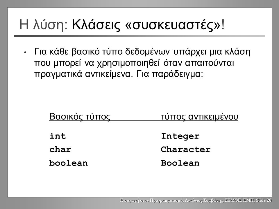 Εισαγωγή στον Προγραμματισμό, Αντώνιος Συμβώνης, ΣΕΜΦΕ, ΕΜΠ, Slide 20 Η λύση: Κλάσεις «συσκευαστές».