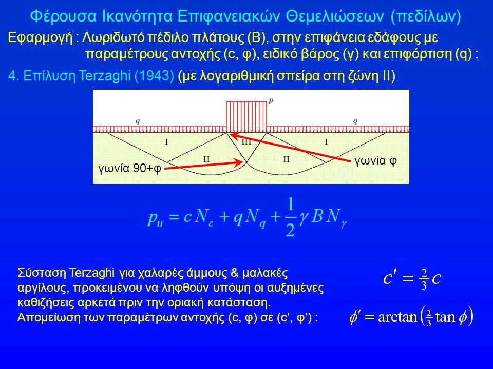 Φέρουσα Ικανότητα Επιφανειακών Θεμελιώσεων (πεδίλων) Εφαρμογή : Λωριδωτό πέδιλο πλάτους (Β), στην επιφάνεια εδάφους με παραμέτρους αντοχής (c, φ), ειδικό βάρος (γ) και επιφόρτιση (q) : 4.