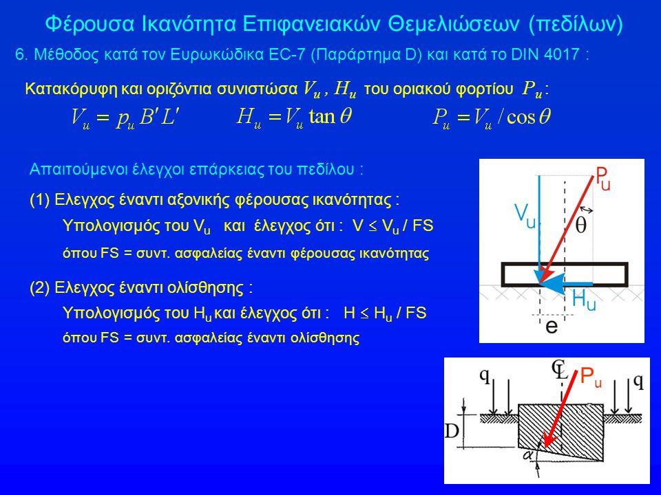 Φέρουσα Ικανότητα Επιφανειακών Θεμελιώσεων (πεδίλων) 6.