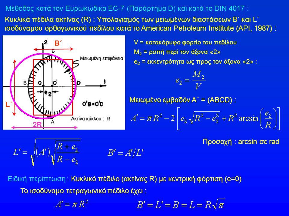 Β΄ L΄L΄ 2R Ειδική περίπτωση : Κυκλικό πέδιλο (ακτίνας R) με κεντρική φόρτιση (e=0) Το ισοδύναμο τετραγωνικό πέδιλο έχει : Μέθοδος κατά τον Ευρωκώδικα EC-7 (Παράρτημα D) και κατά το DIN 4017 : V = κατακόρυφο φορτίο του πεδίλου Μ 2 = ροπή περί τον άξονα «2» e 2 = εκκεντρότητα ως προς τον άξονα «2» : Κυκλικά πέδιλα ακτίνας (R) : Υπολογισμός των μειωμένων διαστάσεων B΄ και L΄ ισοδύναμου ορθογωνικού πεδίλου κατά το American Petroleum Institute (API, 1987) : Μειωμένο εμβαδόν Α΄ = (ABCD) : Προσοχή : arcsin σε rad