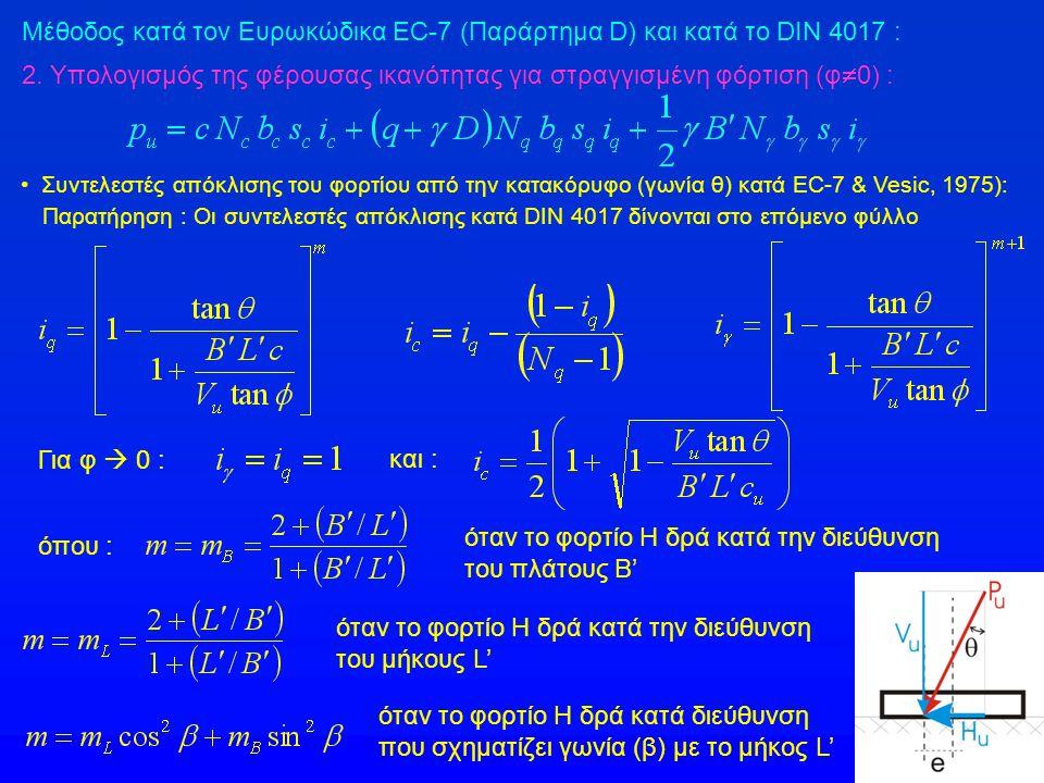 Συντελεστές απόκλισης του φορτίου από την κατακόρυφο (γωνία θ) κατά EC-7 & Vesic, 1975): Παρατήρηση : Οι συντελεστές απόκλισης κατά DIN 4017 δίνονται στο επόμενο φύλλο όπου : όταν το φορτίο Η δρά κατά την διεύθυνση του πλάτους Β' όταν το φορτίο Η δρά κατά την διεύθυνση του μήκους L' όταν το φορτίο Η δρά κατά διεύθυνση που σχηματίζει γωνία (β) με το μήκος L' 2.