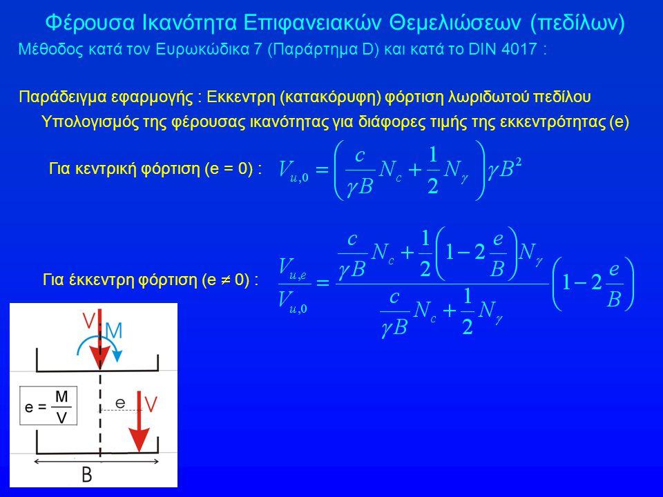 Φέρουσα Ικανότητα Επιφανειακών Θεμελιώσεων (πεδίλων) Μέθοδος κατά τον Ευρωκώδικα 7 (Παράρτημα D) και κατά το DIN 4017 : Παράδειγμα εφαρμογής : Εκκεντρη (κατακόρυφη) φόρτιση λωριδωτού πεδίλου Υπολογισμός της φέρουσας ικανότητας για διάφορες τιμής της εκκεντρότητας (e) Για κεντρική φόρτιση (e = 0) : Για έκκεντρη φόρτιση (e  0) :