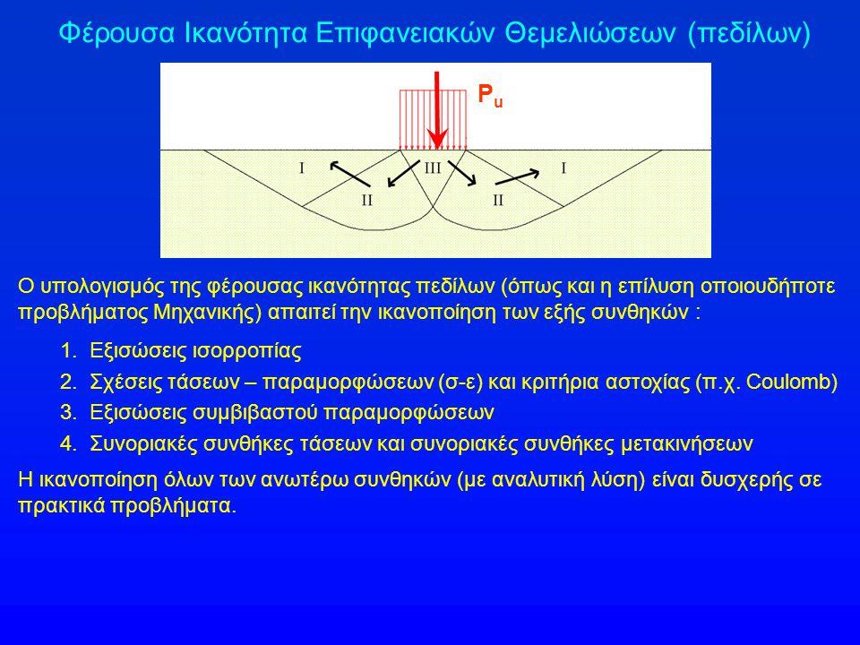 Φέρουσα Ικανότητα Επιφανειακών Θεμελιώσεων (πεδίλων) Ο υπολογισμός της φέρουσας ικανότητας πεδίλων (όπως και η επίλυση οποιουδήποτε προβλήματος Μηχανικής) απαιτεί την ικανοποίηση των εξής συνθηκών : 1.