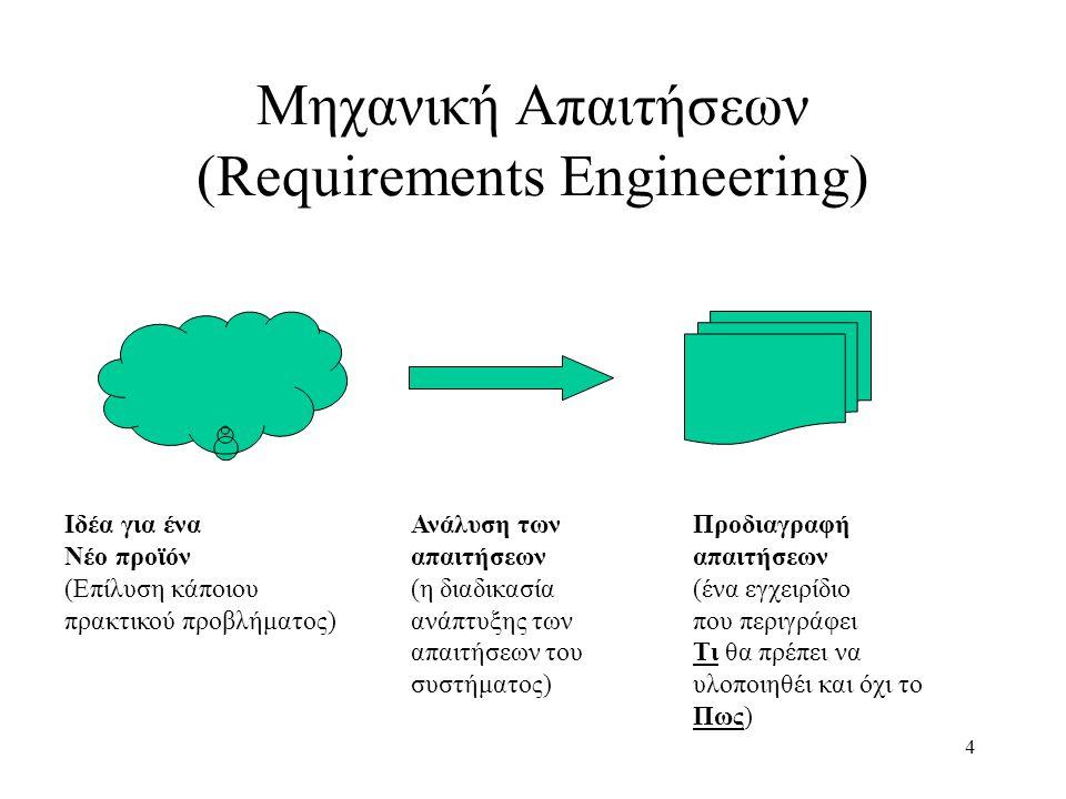 4 Μηχανική Απαιτήσεων (Requirements Engineering) Προδιαγραφή απαιτήσεων (ένα εγχειρίδιο που περιγράφει Τι θα πρέπει να υλοποιηθέι και όχι το Πως) Ανάλυση των απαιτήσεων (η διαδικασία ανάπτυξης των απαιτήσεων του συστήματος) Ιδέα για ένα Νέο προϊόν (Επίλυση κάποιου πρακτικού προβλήματος)