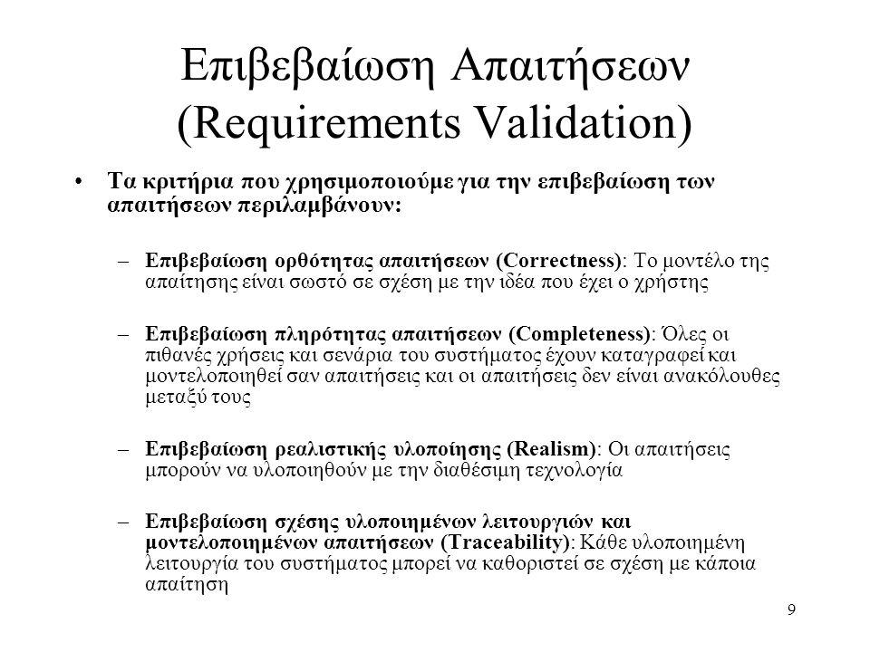 9 Επιβεβαίωση Απαιτήσεων (Requirements Validation) Τα κριτήρια που χρησιμοποιούμε για την επιβεβαίωση των απαιτήσεων περιλαμβάνουν: –Επιβεβαίωση ορθότητας απαιτήσεων (Correctness): Το μοντέλο της απαίτησης είναι σωστό σε σχέση με την ιδέα που έχει ο χρήστης –Επιβεβαίωση πληρότητας απαιτήσεων (Completeness): Όλες οι πιθανές χρήσεις και σενάρια του συστήματος έχουν καταγραφεί και μοντελοποιηθεί σαν απαιτήσεις και οι απαιτήσεις δεν είναι ανακόλουθες μεταξύ τους –Επιβεβαίωση ρεαλιστικής υλοποίησης (Realism): Οι απαιτήσεις μπορούν να υλοποιηθούν με την διαθέσιμη τεχνολογία –Επιβεβαίωση σχέσης υλοποιημένων λειτουργιών και μοντελοποιημένων απαιτήσεων (Traceability): Κάθε υλοποιημένη λειτουργία του συστήματος μπορεί να καθοριστεί σε σχέση με κάποια απαίτηση