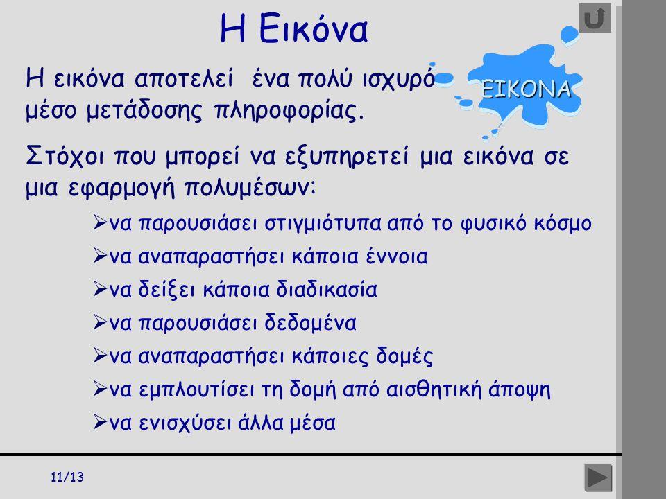 11/13 Η Εικόνα ΕΙΚΟΝΑ Η εικόνα αποτελεί ένα πολύ ισχυρό μέσο μετάδοσης πληροφορίας. Στόχοι που μπορεί να εξυπηρετεί μια εικόνα σε μια εφαρμογή πολυμέσ