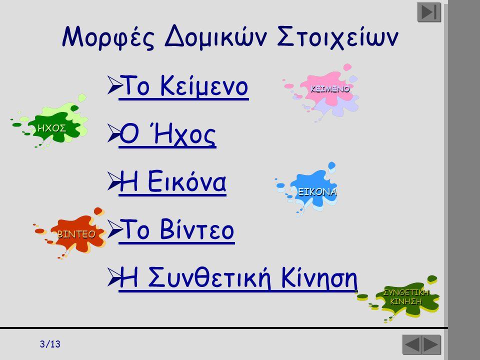 3/13 Μορφές Δομικών Στοιχείων  Το Κείμενο Το Κείμενο  Ο Ήχος Ο Ήχος  Η Εικόνα Η Εικόνα  Το Βίντεο Το Βίντεο  Η Συνθετική Κίνηση Η Συνθετική Κίνησ