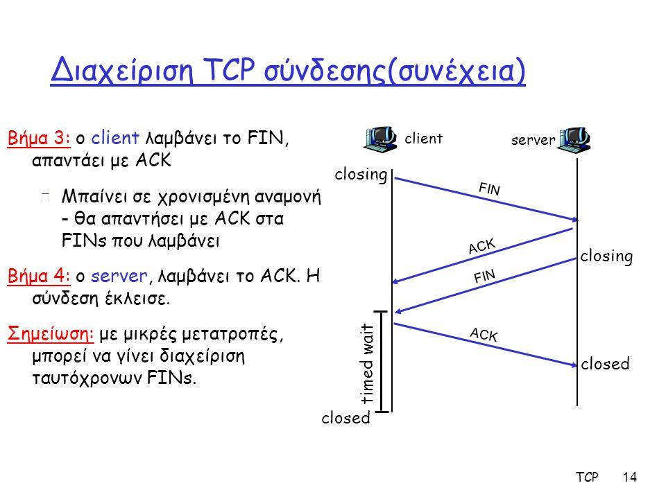 TCP 14 Διαχείριση TCP σύνδεσης(συνέχεια) Βήμα 3: ο client λαμβάνει το FIN, απαντάει με ACK m Μπαίνει σε χρονισμένη αναμονή - θα απαντήσει με ACK στα F