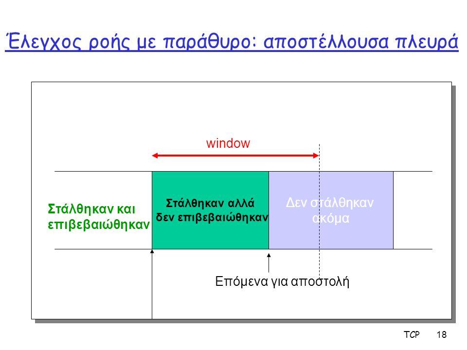 TCP 18 Έλεγχος ροής με παράθυρο: αποστέλλουσα πλευρά Στάλθηκαν αλλά δεν επιβεβαιώθηκαν Δεν στάλθηκαν ακόμα window Επόμενα για αποστολή Στάλθηκαν και ε