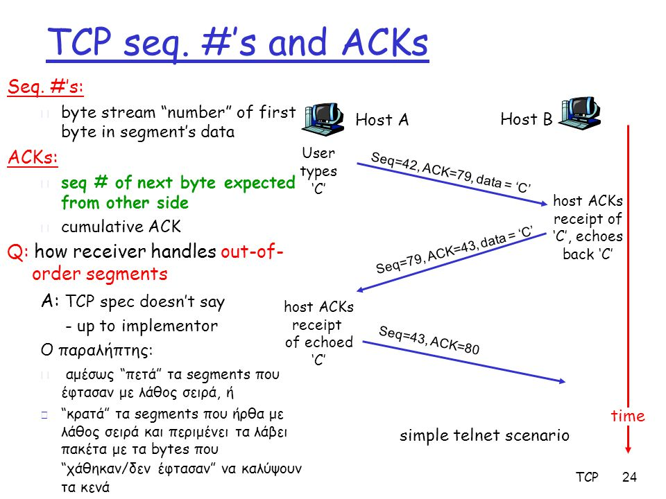 """TCP 24 TCP seq. #'s and ACKs Seq. #'s: m byte stream """"number"""" of first byte in segment's data ACKs: m seq # of next byte expected from other side m cu"""