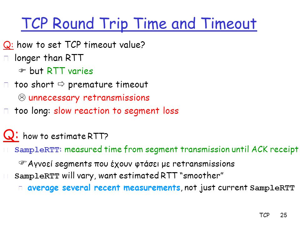 TCP 25 TCP Round Trip Time and Timeout Q: how to set TCP timeout value.