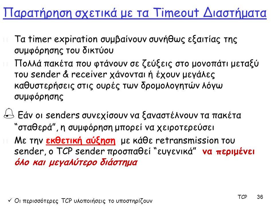 TCP 36 Παρατήρηση σχετικά με τα Timeout Διαστήματα m Τα timer expiration συμβαίνουν συνήθως εξαιτίας της συμφόρησης του δικτύου m Πολλά πακέτα που φτά