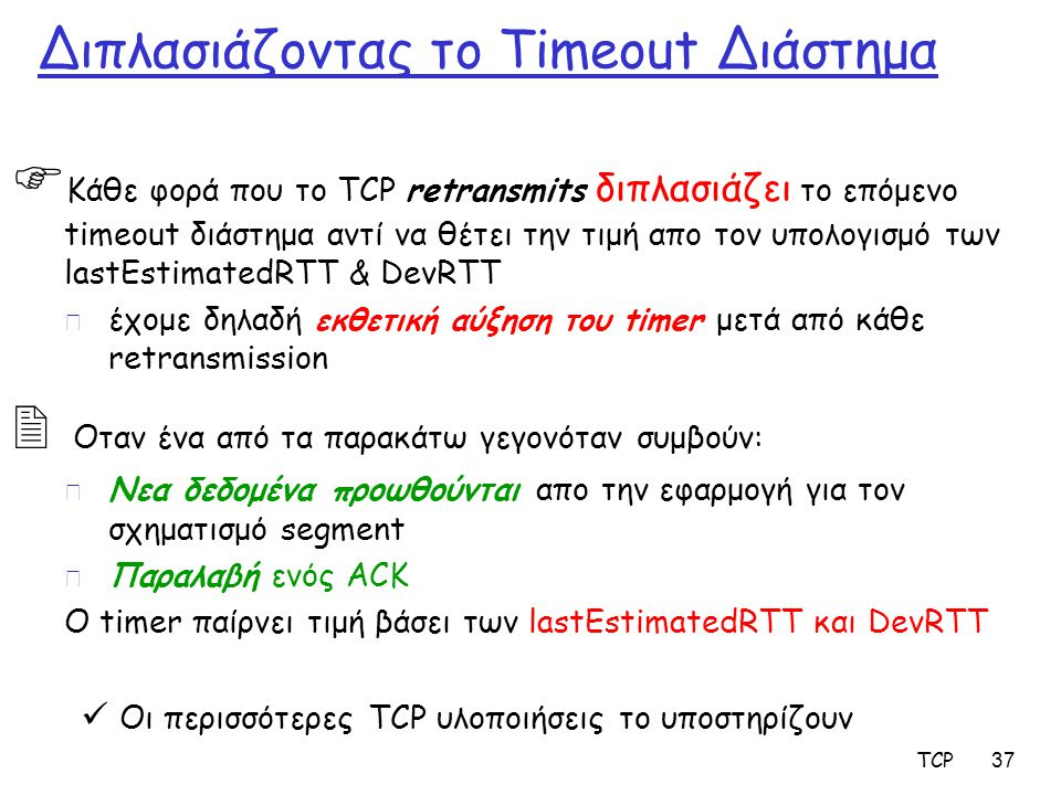 TCP 37 Διπλασιάζοντας το Timeout Διάστημα  Κάθε φορά που το TCP retransmits διπλασιάζει το επόμενο timeout διάστημα αντί να θέτει την τιμή απο τον υπ