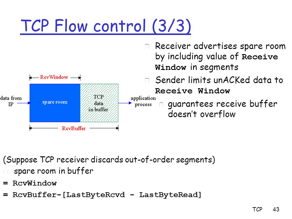 TCP 43 TCP Flow control (3/3) (Suppose TCP receiver discards out-of-order segments)  spare room in buffer = RcvWindow = RcvBuffer-[LastByteRcvd - LastByteRead]  Receiver advertises spare room by including value of Receive Window in segments  Sender limits unACKed data to Receive Window m guarantees receive buffer doesn't overflow