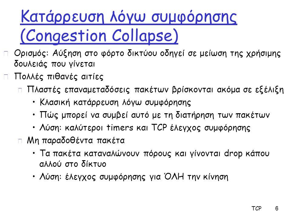 TCP 6 Κατάρρευση λόγω συμφόρησης (Congestion Collapse) r Ορισμός: Αύξηση στο φόρτο δικτύου οδηγεί σε μείωση της χρήσιμης δουλειάς που γίνεται r Πολλές