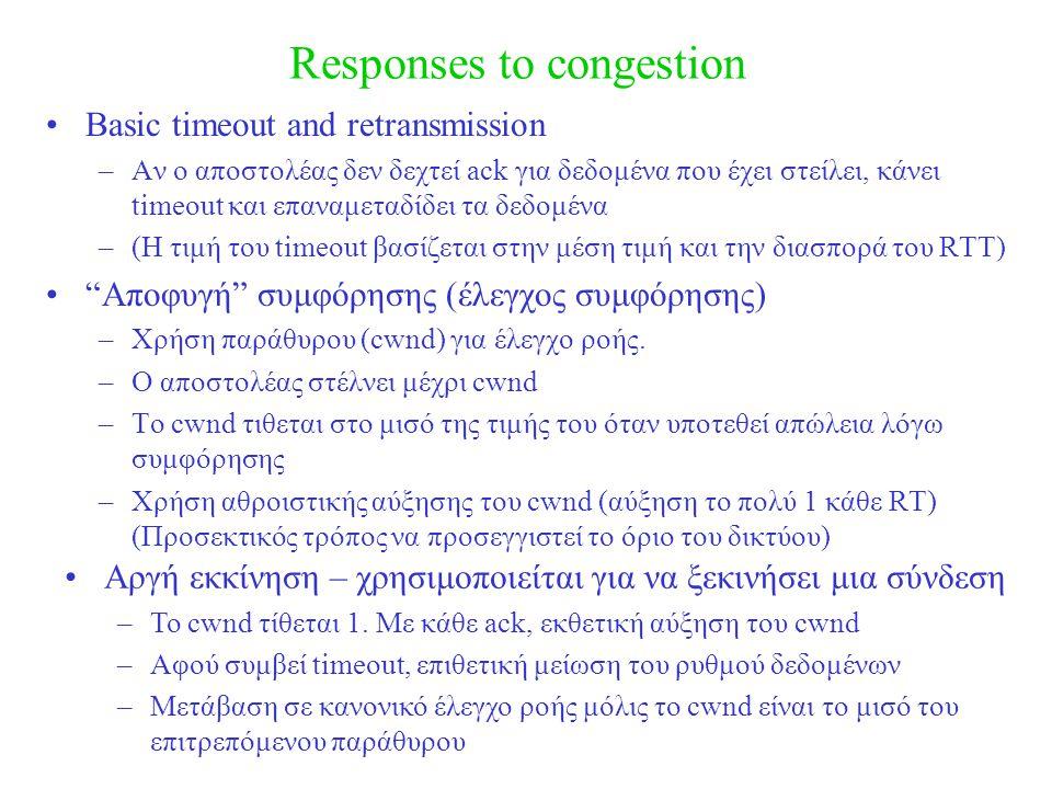 Responses to congestion Basic timeout and retransmission –Αν ο αποστολέας δεν δεχτεί ack για δεδομένα που έχει στείλει, κάνει timeout και επαναμεταδίδει τα δεδομένα –(Η τιμή του timeout βασίζεται στην μέση τιμή και την διασπορά του RTT) Αποφυγή συμφόρησης (έλεγχος συμφόρησης) –Χρήση παράθυρου (cwnd) για έλεγχο ροής.