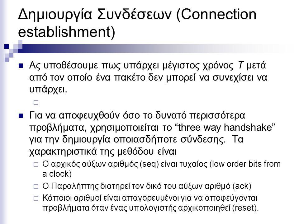 Δημιουργία Συνδέσεων (Connection establishment) Ας υποθέσουμε πως υπάρχει μέγιστος χρόνος T μετά από τον οποίο ένα πακέτο δεν μπορεί να συνεχίσει να υ