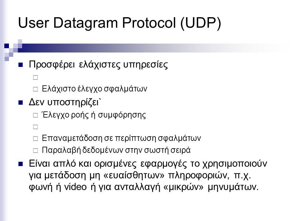User Datagram Protocol (UDP) Προσφέρει ελάχιστες υπηρεσίες   Ελάχιστο έλεγχο σφαλμάτων Δεν υποστηρίζει`  Έλεγχο ροής ή συμφόρησης   Επαναμετάδοση