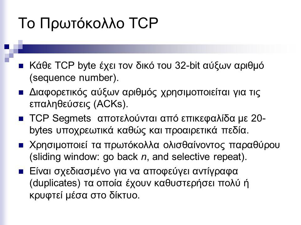 Το Πρωτόκολλο TCP Κάθε TCP byte έχει τον δικό του 32-bit αύξων αριθμό (sequence number). Διαφορετικός αύξων αριθμός χρησιμοποιείται για τις επαληθεύσε