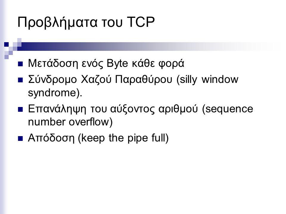 Προβλήματα του TCP Μετάδοση ενός Byte κάθε φορά Σύνδρομο Χαζού Παραθύρου (silly window syndrome). Επανάληψη του αύξοντος αριθμού (sequence number over