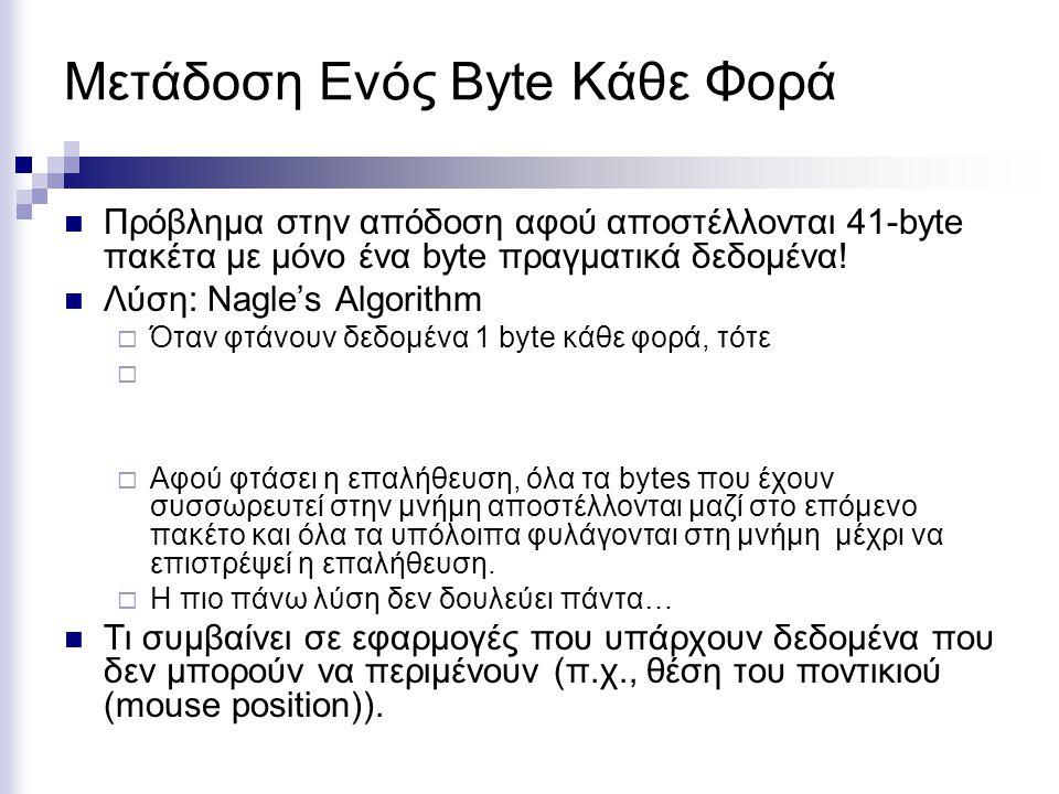 Μετάδοση Ενός Byte Κάθε Φορά Πρόβλημα στην απόδοση αφού αποστέλλονται 41-byte πακέτα με μόνο ένα byte πραγματικά δεδομένα! Λύση: Nagle's Algorithm  Ό