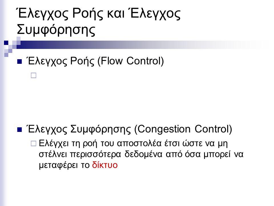 Έλεγχος Ροής και Έλεγχος Συμφόρησης Έλεγχος Ροής (Flow Control)  Έλεγχος Συμφόρησης (Congestion Control)  Ελέγχει τη ροή του αποστολέα έτσι ώστε να