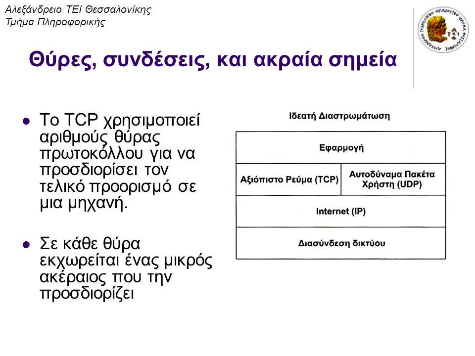 Θύρες, συνδέσεις, και ακραία σημεία Το TCP χρησιμοποιεί αριθμούς θύρας πρωτοκόλλου για να προσδιορίσει τον τελικό προορισμό σε μια μηχανή. Σε κάθε θύρ