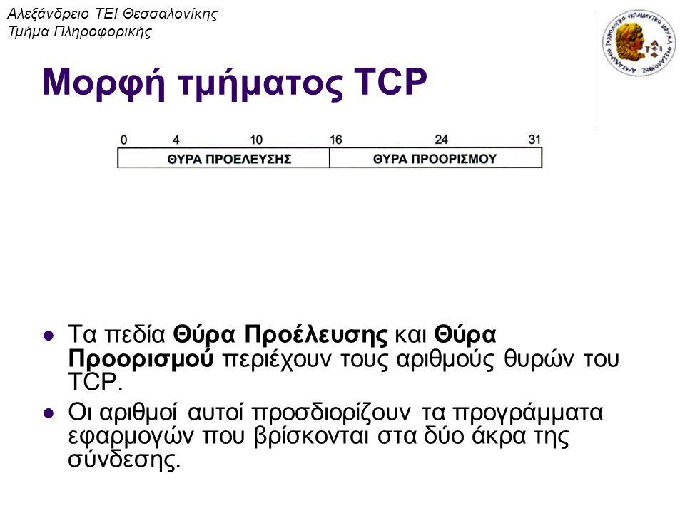 Τα πεδία Θύρα Προέλευσης και Θύρα Προορισμού περιέχουν τους αριθμούς θυρών του TCP. Οι αριθμοί αυτοί προσδιορίζουν τα προγράμματα εφαρμογών που βρίσκο