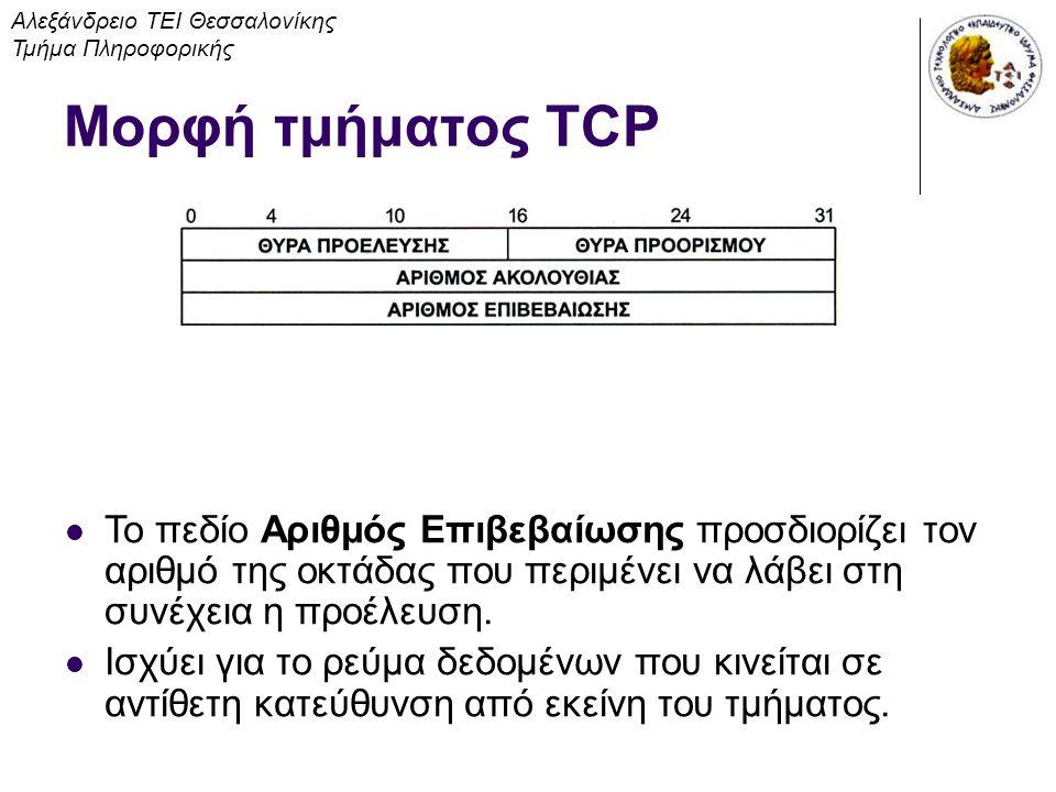 Μορφή τμήματος TCP Αλεξάνδρειο ΤΕΙ Θεσσαλονίκης Τμήμα Πληροφορικής Το πεδίο Αριθμός Επιβεβαίωσης προσδιορίζει τον αριθμό της οκτάδας που περιμένει να