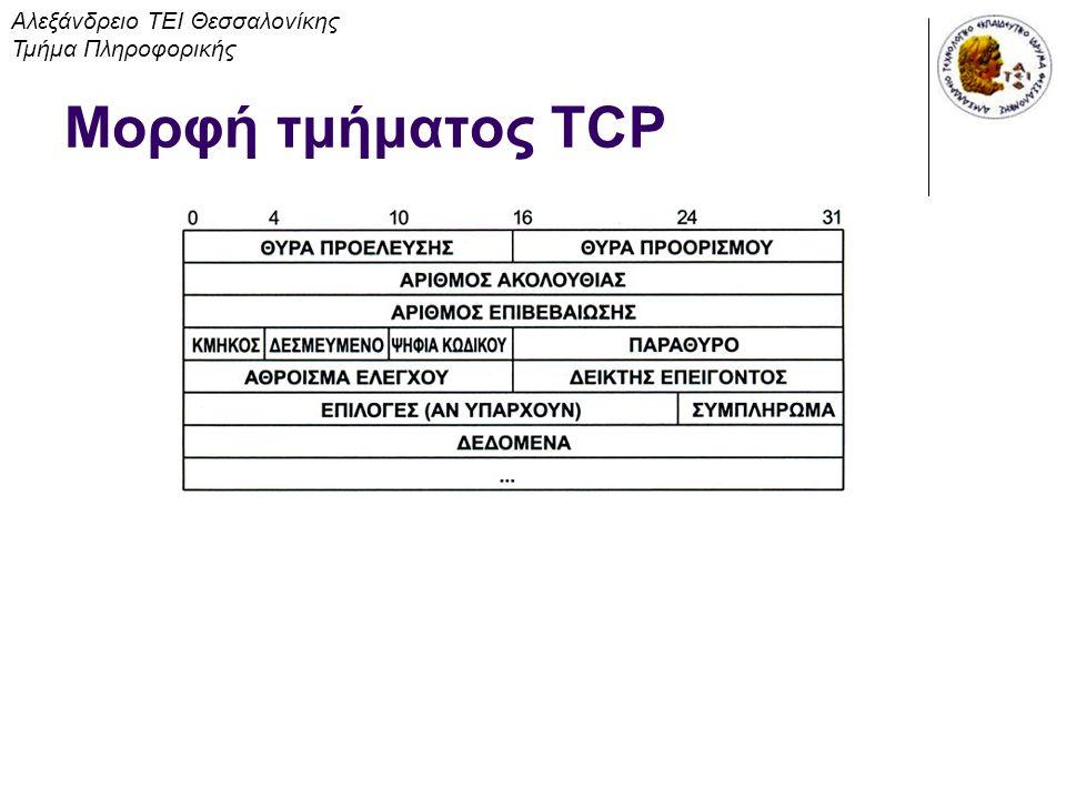 Μορφή τμήματος TCP Αλεξάνδρειο ΤΕΙ Θεσσαλονίκης Τμήμα Πληροφορικής