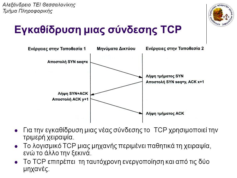Εγκαθίδρυση μιας σύνδεσης TCP Για την εγκαθίδρυση μιας νέας σύνδεσης το TCP χρησιμοποιεί την τριμερή χειραψία. Το λογισμικό TCP μιας μηχανής περιμένει