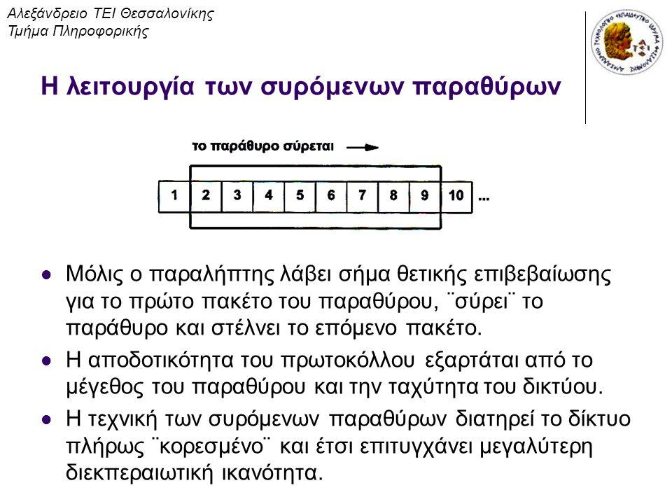 Μορφή τμήματος TCP Αλεξάνδρειο ΤΕΙ Θεσσαλονίκης Τμήμα Πληροφορικής Το πεδίο Αριθμός Επιβεβαίωσης προσδιορίζει τον αριθμό της οκτάδας που περιμένει να λάβει στη συνέχεια η προέλευση.