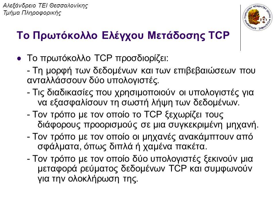 Το Πρωτόκολλο Ελέγχου Μετάδοσης TCP Το πρωτόκολλο TCP προσδιορίζει: - Τη μορφή των δεδομένων και των επιβεβαιώσεων που ανταλλάσσουν δύο υπολογιστές. -