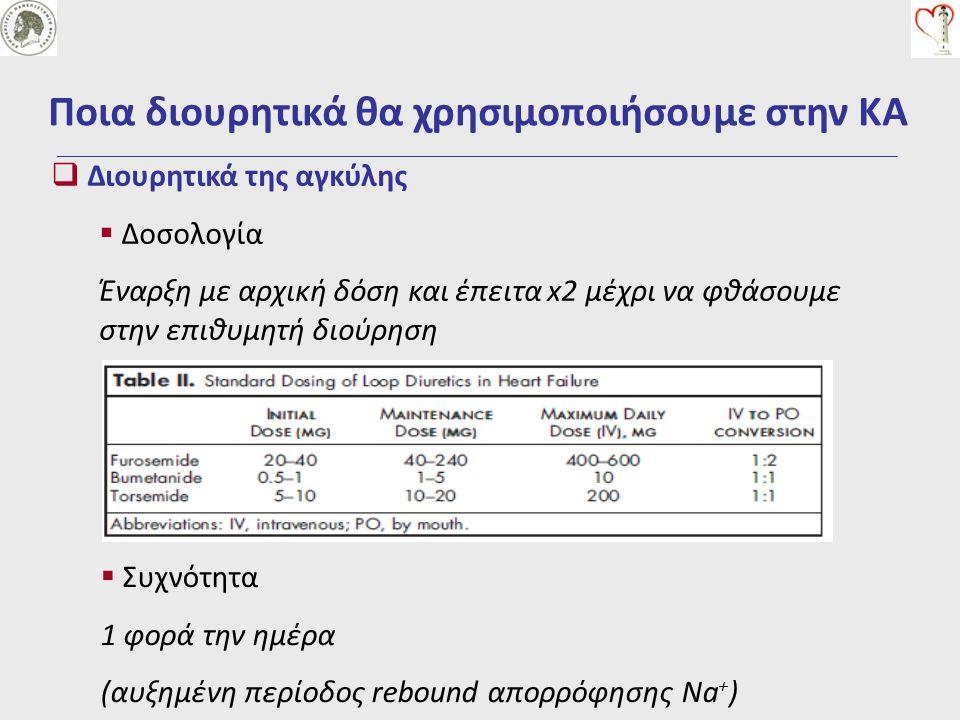  Διουρητικά της αγκύλης  Φαρμακοδυναμική Διαιτητική πρόσληψη Να + Πρόσληψη υγρών Χορήγηση φαρμάκων (ΜΣΑΦ) Υπολευκωματιναιμία (+αλβουμίνη?) Οξέωση (+διττανθρακικά?) Συν-νοσηρότητες Ποια διουρητικά θα χρησιμοποιήσουμε στην ΚΑ