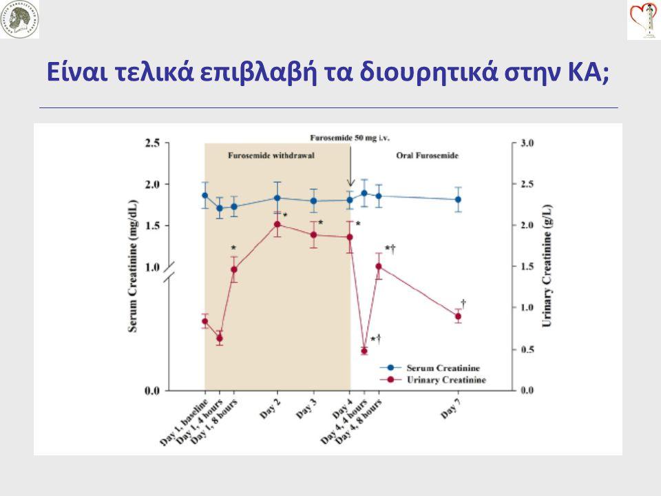 Πως θα χρησιμοποιήσουμε τα διουρητικά στην ΚΑ  high or low doses ; Υψηλές δόσεις  Αυξημένη διούρηση  Ελάττωση της νεφρικής λειτουργίας (παροδική)  Χωρίς διαφορές στην θνητότητα (σε βραχεία χρήση)