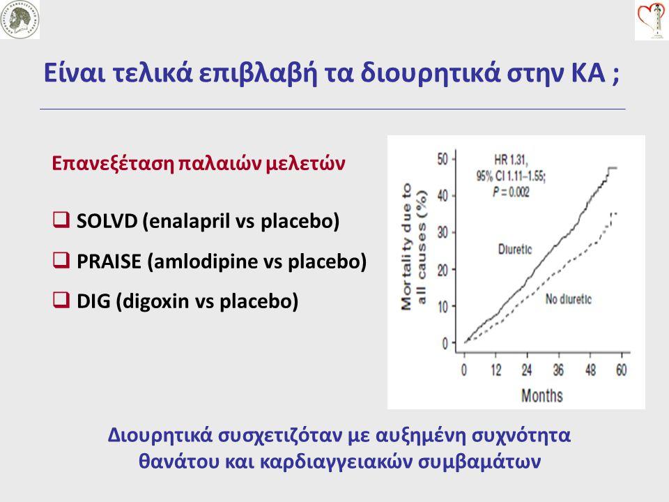  SOLVD (enalapril vs placebo)  PRAISE (amlodipine vs placebo)  DIG (digoxin vs placebo) Διουρητικά συσχετιζόταν με αυξημένη συχνότητα θανάτου και κ