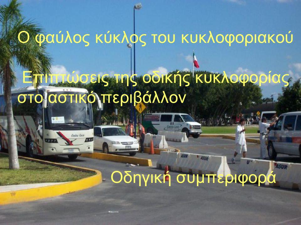Ο φαύλος κύκλος του κυκλοφοριακού Επιπτώσεις της οδικής κυκλοφορίας στο αστικό περιβάλλον Οδηγική συμπεριφορά