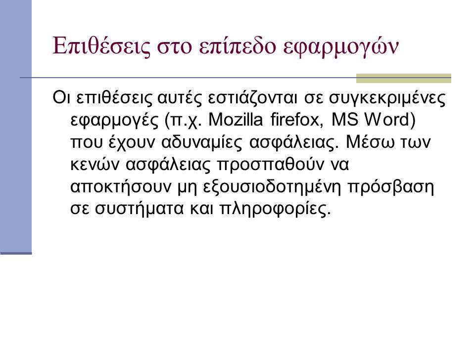 Επιθέσεις στο επίπεδο εφαρμογών Οι επιθέσεις αυτές εστιάζονται σε συγκεκριμένες εφαρμογές (π.χ. Mozilla firefox, MS Word) που έχουν αδυναμίες ασφάλεια
