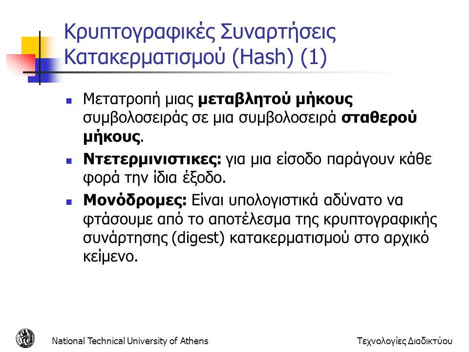 Κρυπτογραφικές Συναρτήσεις Κατακερματισμού (Hash) (1) Μετατροπή μιας μεταβλητού μήκους συμβολοσειράς σε μια συμβολοσειρά σταθερού μήκους. Ντετερμινιστ