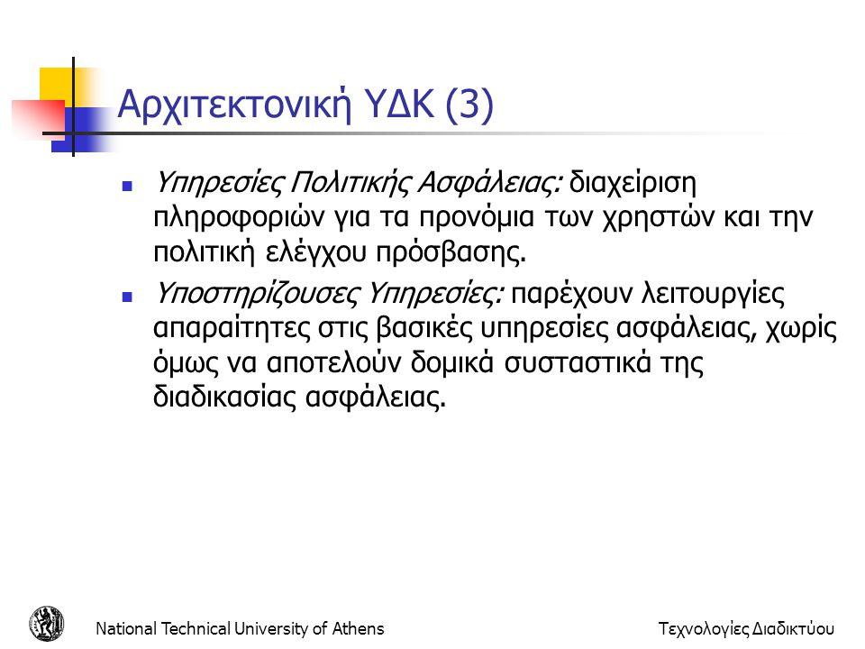 Αρχιτεκτονική ΥΔΚ (3) Υπηρεσίες Πολιτικής Ασφάλειας: διαχείριση πληροφοριών για τα προνόμια των χρηστών και την πολιτική ελέγχου πρόσβασης. Υποστηρίζο