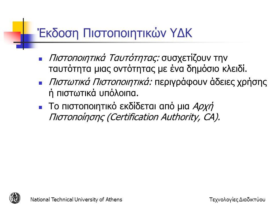 Έκδοση Πιστοποιητικών ΥΔΚ Πιστοποιητικά Ταυτότητας: συσχετίζουν την ταυτότητα μιας οντότητας με ένα δημόσιο κλειδί. Πιστωτικά Πιστοποιητικά: περιγράφο