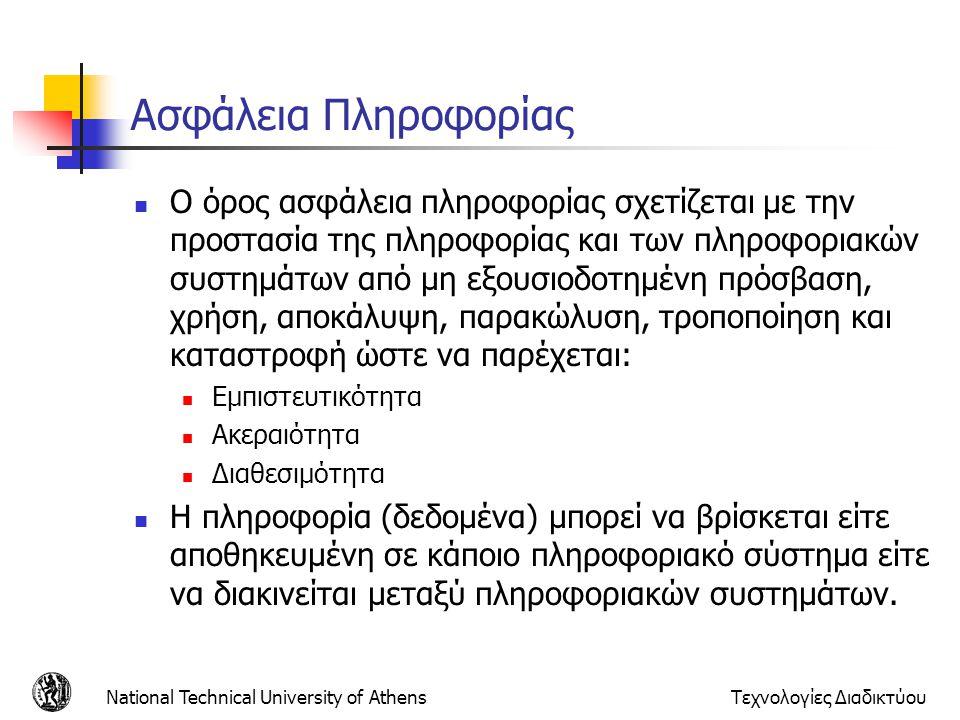 Θεμελιώδεις Απαιτήσεις Ασφάλειας Εμπιστευτικότητα (Confidentiality) Ακεραιότητα (Integrity) Διαθεσιμότητα (Availability) National Technical University of AthensΤεχνολογίες Διαδικτύου