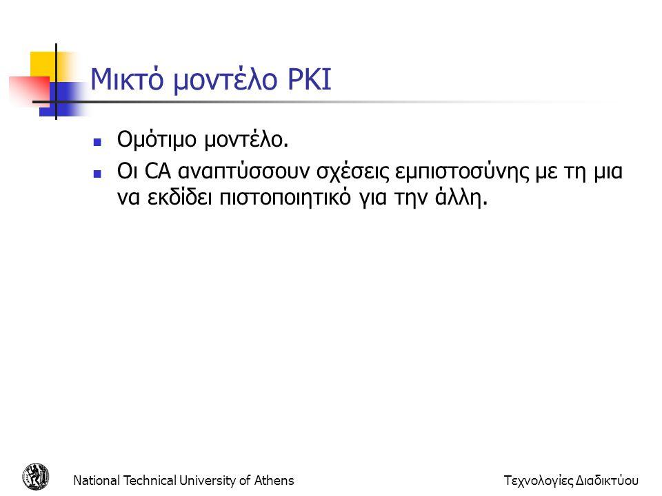 Μικτό μοντέλο PKI Ομότιμο μοντέλο. Οι CA αναπτύσσουν σχέσεις εμπιστοσύνης με τη μια να εκδίδει πιστοποιητικό για την άλλη. National Technical Universi