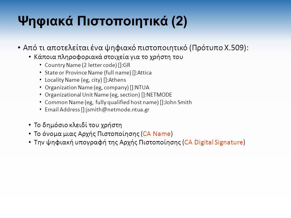 Ψηφιακά Πιστοποιητικά (2) Από τι αποτελείται ένα ψηφιακό πιστοποιητικό (Πρότυπο X.509): Κάποια πληροφοριακά στοιχεία για το χρήστη του Country Name (2 letter code) []:GR State or Province Name (full name) []:Attica Locality Name (eg, city) []:Athens Organization Name (eg, company) []:NTUA Organizational Unit Name (eg, section) []:NETMODE Common Name (eg, fully qualified host name) []:John Smith Email Address []:jsmith@netmode.ntua.gr Το δημόσιο κλειδί του χρήστη Το όνομα μιας Αρχής Πιστοποίησης (CA Name) Την ψηφιακή υπογραφή της Αρχής Πιστοποίησης (CA Digital Signature)