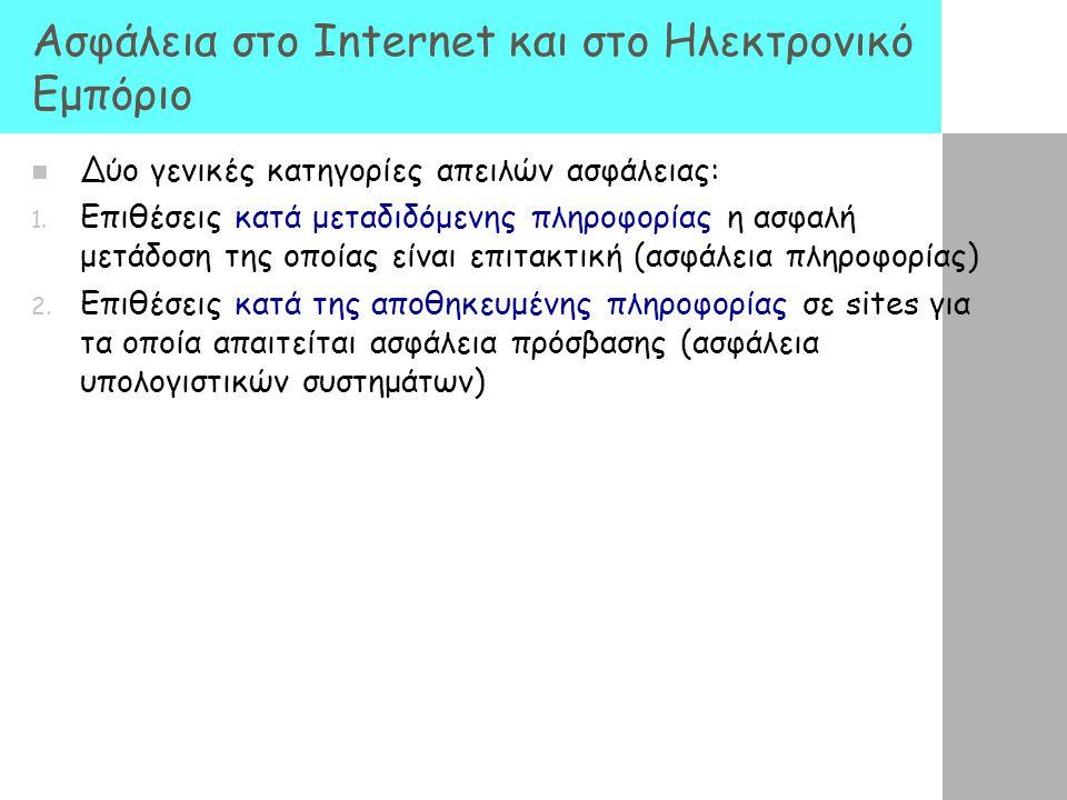 Ασφάλεια στο Internet και στο Ηλεκτρονικό Εμπόριο Δύο γενικές κατηγορίες απειλών ασφάλειας: 1. Επιθέσεις κατά μεταδιδόμενης πληροφορίας η ασφαλή μετάδ